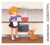 girl cooking dinner with her... | Shutterstock .eps vector #1228207591