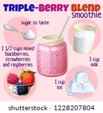 triple berry smoothie recipe... | Shutterstock .eps vector #1228207804