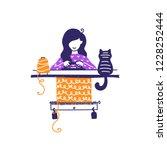 knitter is using knitting... | Shutterstock .eps vector #1228252444