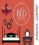 Stock vector bedroom template vector illustration 122829067