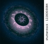 illustration with horoscope... | Shutterstock .eps vector #1228303084
