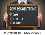 new year 2019 resolutions on... | Shutterstock . vector #1228304287