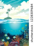 beautiful coral reef with... | Shutterstock .eps vector #1228309684