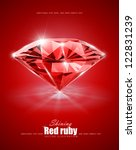 diamond on red background vector illustration EPS10. Transparent objects and opacity masks used for shadows and lights drawing