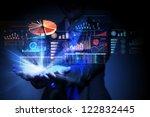 businesswoman with financial...   Shutterstock . vector #122832445