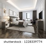 Stock photo  d rendering beautiful luxury bedroom suite in hotel with tv 1228339774