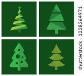 christmas tree icon set vector | Shutterstock .eps vector #1228364971
