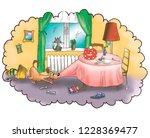 cartoon illustration  children... | Shutterstock . vector #1228369477