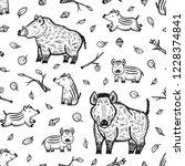 boars vector seamless pattern. ... | Shutterstock .eps vector #1228374841
