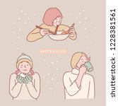 a set of girls who eat warm... | Shutterstock .eps vector #1228381561
