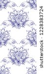 flower doodles seamless pattern.... | Shutterstock .eps vector #1228383724
