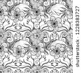 flower doodles seamless pattern.... | Shutterstock .eps vector #1228383727