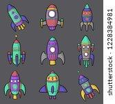 spaceship set vector | Shutterstock .eps vector #1228384981