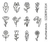 flower icons set. contains... | Shutterstock .eps vector #1228391314