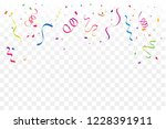 colorful confetti and ribbon... | Shutterstock .eps vector #1228391911