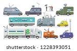 broadcast car vector tv vehicle ...   Shutterstock .eps vector #1228393051