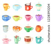 cartoon cup vector kids mugs... | Shutterstock .eps vector #1228393204