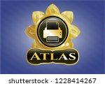 golden badge with printer icon ...   Shutterstock .eps vector #1228414267