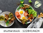 healthy breakfast table concept.... | Shutterstock . vector #1228414624