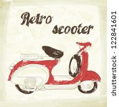 poster with vintage scooter | Shutterstock .eps vector #122841601