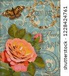 vintage rose postcard | Shutterstock .eps vector #1228424761