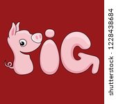 cheerful pig sign on a red... | Shutterstock .eps vector #1228438684