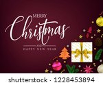 top view merry christmas and... | Shutterstock .eps vector #1228453894