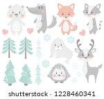reindeer  raccoon  seal  wolf ... | Shutterstock .eps vector #1228460341