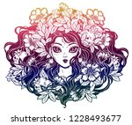 girl portrait  decorative crown ... | Shutterstock .eps vector #1228493677