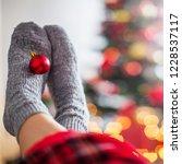 knitted socks on christmas tree ... | Shutterstock . vector #1228537117