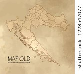 old croatia map with vintage... | Shutterstock .eps vector #1228547077
