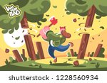 lumberjack with ax cutting down ... | Shutterstock .eps vector #1228560934
