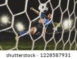 soccer player at stadium. mixed ... | Shutterstock . vector #1228587931