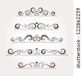 set of five calligraphic floral ...   Shutterstock .eps vector #122862259