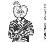 apple head of man engraving... | Shutterstock .eps vector #1228624441