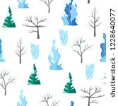 winter vector flat seamless... | Shutterstock .eps vector #1228640077