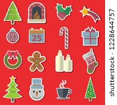 vector christmas icons and... | Shutterstock .eps vector #1228644757