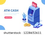 atm machine and cash money. can ... | Shutterstock .eps vector #1228652611