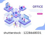 oworking office concept design.... | Shutterstock .eps vector #1228668031