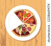 assortment of pizza slice on... | Shutterstock .eps vector #1228669474
