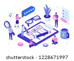 people fill out a questionnaire ... | Shutterstock .eps vector #1228671997
