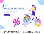 woman hold shopping cart with... | Shutterstock .eps vector #1228672411