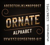 ornate alphabet font. golden... | Shutterstock .eps vector #1228672951