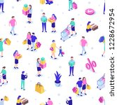 shopping people seamless... | Shutterstock .eps vector #1228672954