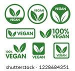 vegan icon set. bio  ecology ...   Shutterstock .eps vector #1228684351