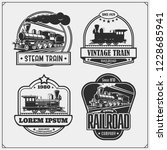 set of retro trains emblems ... | Shutterstock .eps vector #1228685941