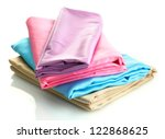 heap of cloth fabrics isolated...