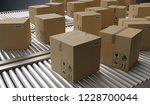 conveyor with many cardboard...   Shutterstock . vector #1228700044