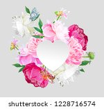 a picturesque peony flower....   Shutterstock .eps vector #1228716574