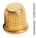 thimble gold isolated on white... | Shutterstock . vector #1228723411